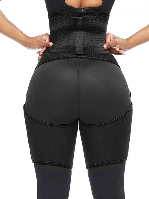 Perfect-Fit Black Neoprene Adjustable Sticker Thigh Trimmer Slim Girl