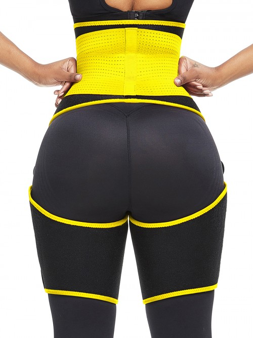 Perfect-Fit Yellow Neoprene Adjustable Sticker Thigh Trimmer Slim Girl