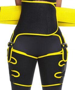 Perfect-Fit Yellow Neoprene Adjustable Sticker Thigh Trimmer Slim Girl