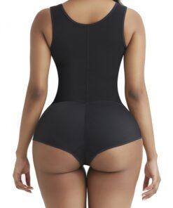 Perfect-Fit Black Wide Strap Zipper Full Body Shaper Breathability