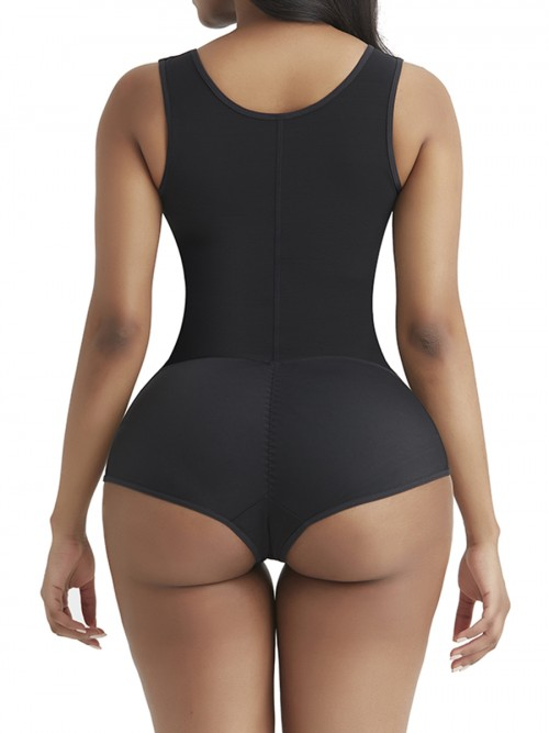 Perfect-Fit Black Wide Strap Zipper Full Body Shaper Breathability