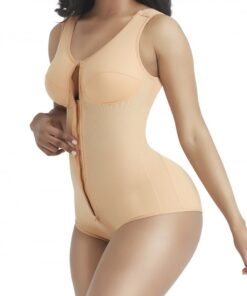 Perfect-Fit Skin Color Wide Strap Zipper Full Body Shaper Breathability