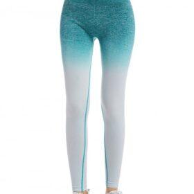 Plain Blue Full-Length High Rise Sports Leggings Quick Drying