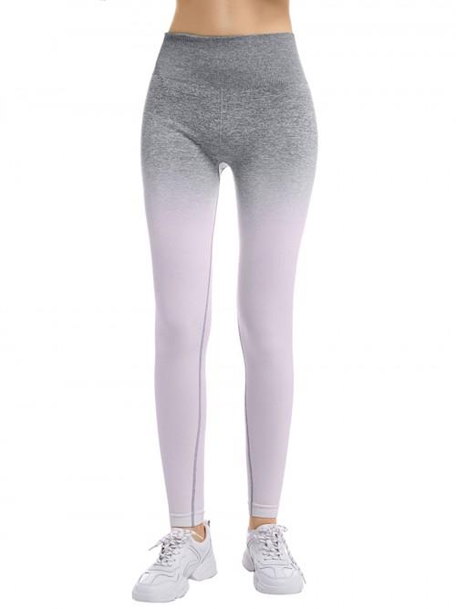 Plain Gray Full-Length High Rise Sports Leggings Quick Drying