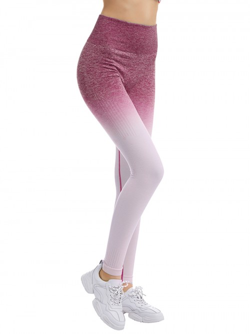 Plain Pink Full-Length High Rise Sports Leggings Quick Drying