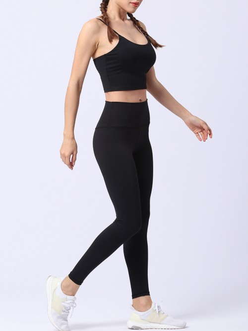 Popularity Black Running Suit Solid Color High Rise Quality Assured