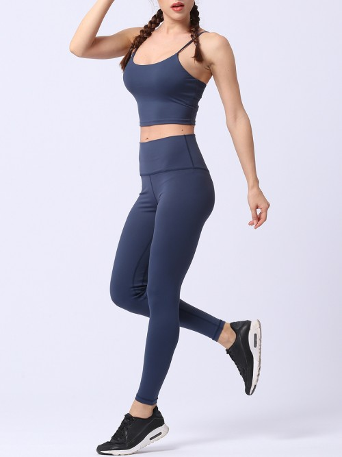 Popularity Dark Blue Running Suit Solid Color High Rise Quality Assured