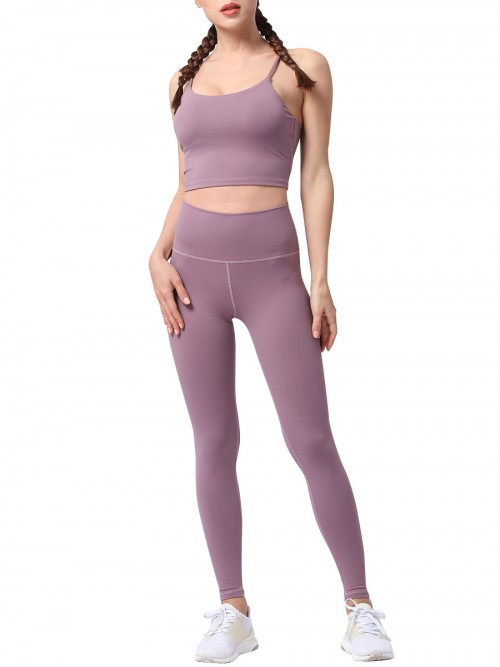 Popularity Purple Running Suit Solid Color High Rise Quality Assured