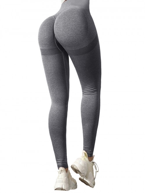 Premium Grey Yoga Leggings Wide Waistband Solid Color Comfort