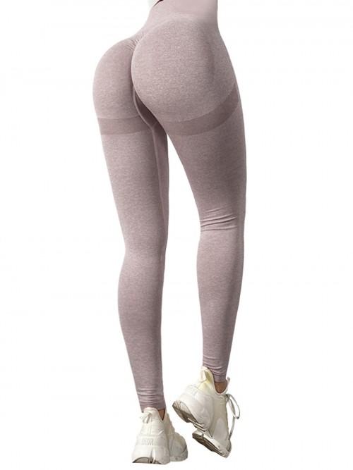 Premium Pink Yoga Leggings Wide Waistband Solid Color Comfort