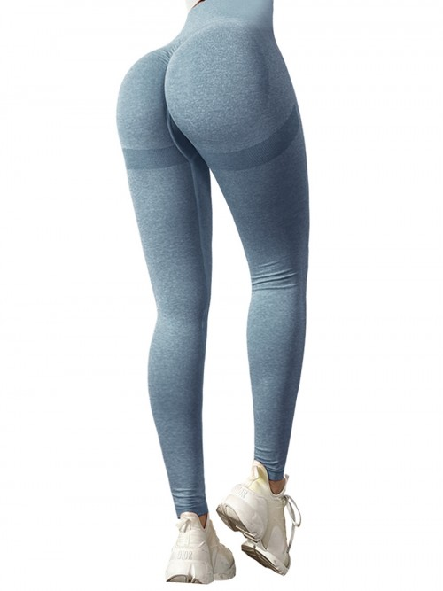 Premium Blue Yoga Leggings Wide Waistband Solid Color Comfort