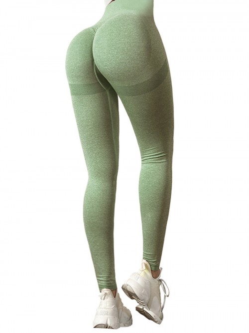 Premium Army Green Yoga Leggings Wide Waistband Solid Color Comfort