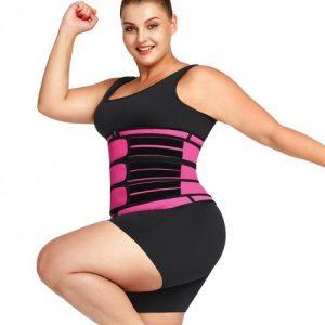 Pretty Pink Three Belts Latex Waist Trainer Big Size Body Shaper