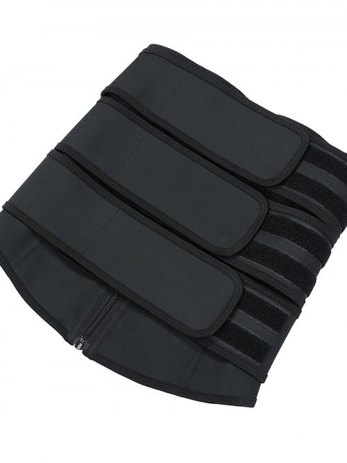 Pretty Black Three Belts Latex Waist Trainer Big Size Body Shaper