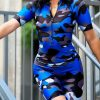 Pretty Blue Camouflage Printed Zip Sports Suit Women's Fashion