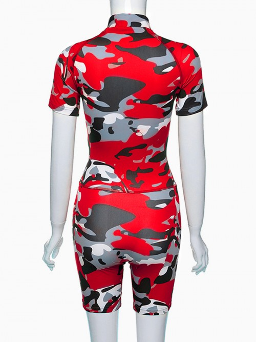 Pretty Red Camouflage Printed Zip Sports Suit Women's Fashion