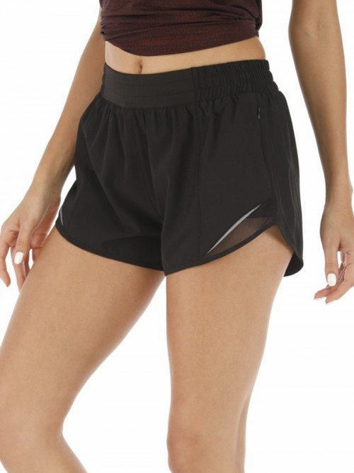 Purplish Black Lining Detail Solid Color Running Shorts Leisure Time