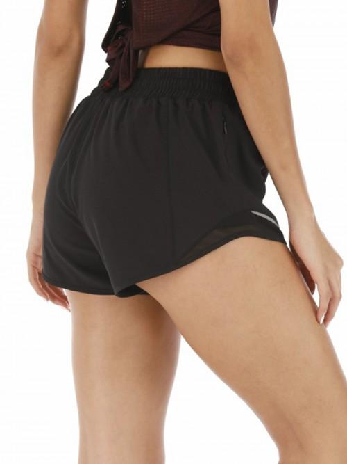 Purplish Black Lining Detail Solid Color Running Shorts Leisure Time