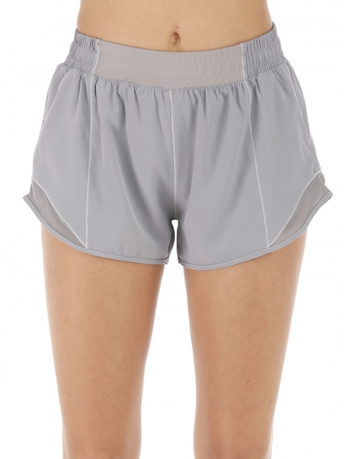 Purplish Grey Lining Detail Solid Color Running Shorts Leisure Time