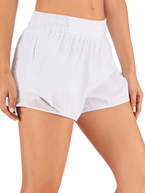 Purplish White Lining Detail Solid Color Running Shorts Leisure Time