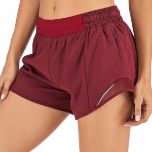 Purplish Red Lining Detail Solid Color Running Shorts Leisure Time