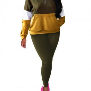 Ruching Army Green Full-Length Sweat Suit Hooded Pocket Elasticity