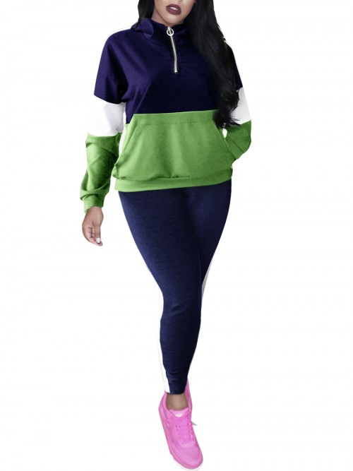 Ruching Blue Full-Length Sweat Suit Hooded Pocket Elasticity