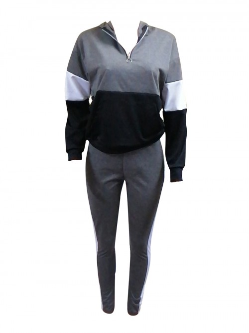 Ruching Grey Full-Length Sweat Suit Hooded Pocket Elasticity