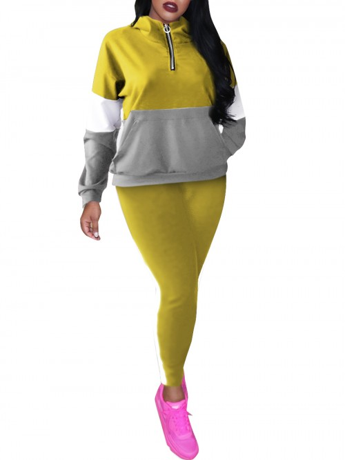 Ruching Yellow Full-Length Sweat Suit Hooded Pocket Elasticity