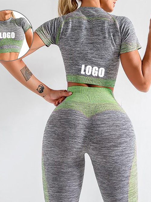Scintillating Green Crop Top Seamless High Waist Pants Women's Fashion