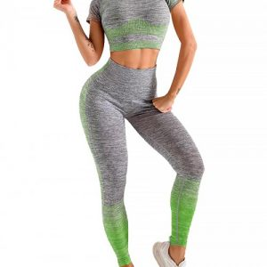 Scintillating Green Crop Top Seamless High Waist Pants Women's Fashion