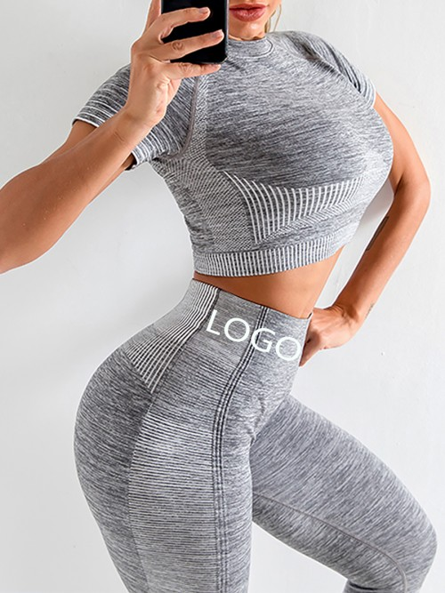 Scintillating Gray Crop Top Seamless High Waist Pants Women's Fashion