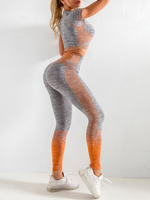 Scintillating Orange Crop Top Seamless High Waist Pants Women's Fashion
