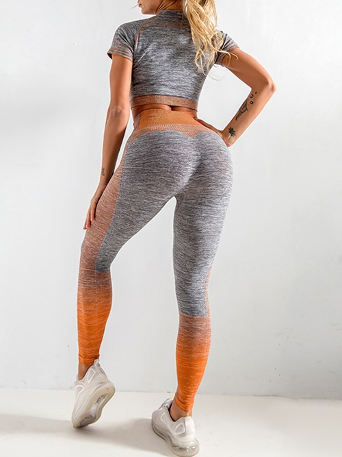 Scintillating Orange Crop Top Seamless High Waist Pants Women's Fashion