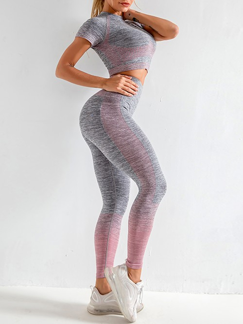 Scintillating Pink Crop Top Seamless High Waist Pants Women's Fashion