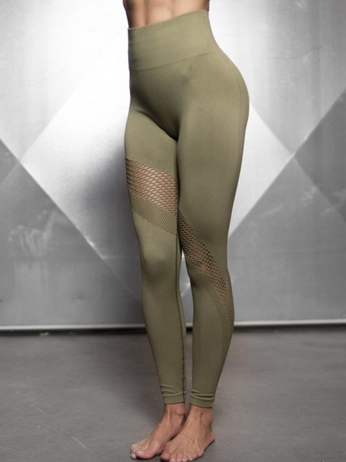 Sculpting Army Green Exercise Legging Mesh Abdominal Control