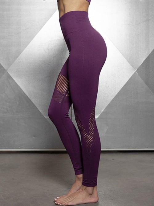Sculpting Purple Exercise Legging Mesh Abdominal Control