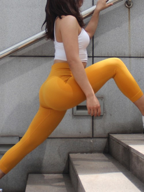 Shaping Yellow Athletic Legging Lift Butt Seamless Free Time