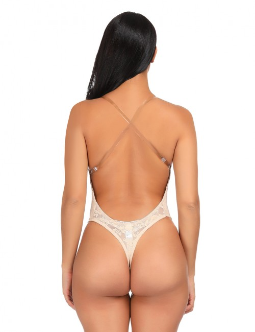 Sheer Skin Color Underwire Lace Body Shaper Transparent Straps Stretch