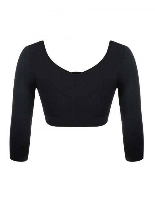 Silhouette Dark Complexion 3/4 Sleeve Zip Open Bust Shapewear Top