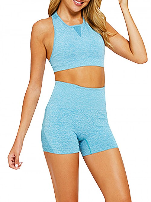Simplicity Blue Two-Piece Seamless Sleeveless Yoga Top Elastic