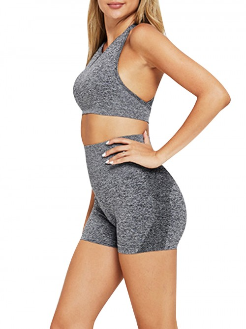 Simplicity Grey Two-Piece Seamless Sleeveless Yoga Top Elastic