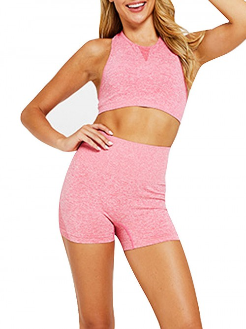 Simplicity Pink Two-Piece Seamless Sleeveless Yoga Top Elastic