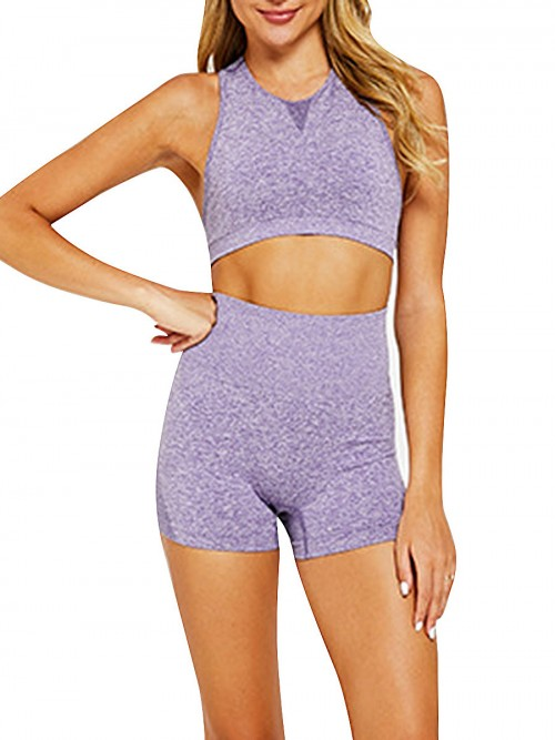 Simplicity Purple Two-Piece Seamless Sleeveless Yoga Top Elastic