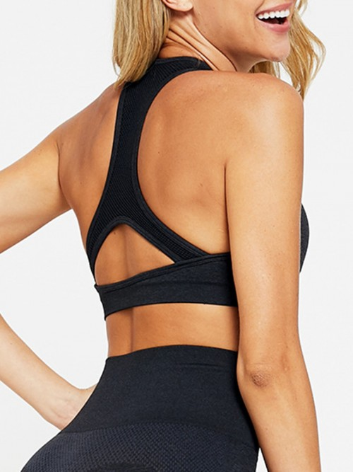 Simplicity Black Two-Piece Seamless Sleeveless Yoga Top Elastic