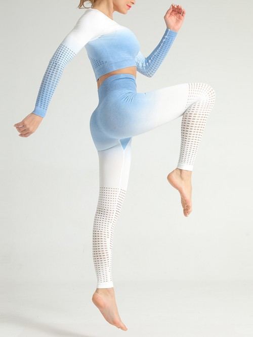Simply Chic Blue Patchwork Seamless Athlete Suit Hollow
