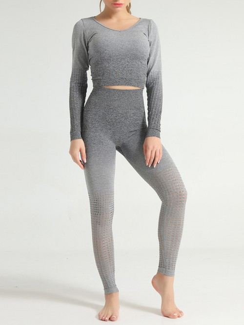Simply Chic Grey Patchwork Seamless Athlete Suit Hollow