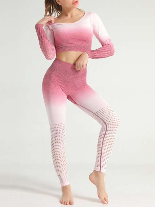 Simply Chic Pink Patchwork Seamless Athlete Suit Hollow