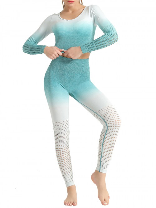 Simply Chic Green Patchwork Seamless Athlete Suit Hollow