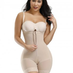 Skin Color Full Body Shaper Two Plastic Bones Straps Flatten Tummy